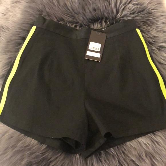 LF Pants - Black High Waisted Shorts with Green Trim ☘️